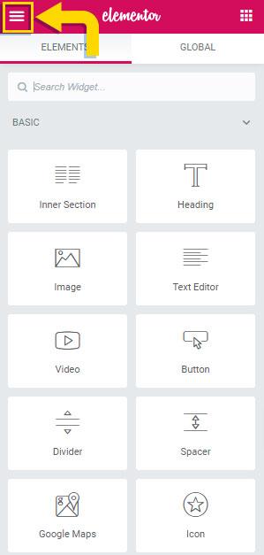 Access Elementor Default Options