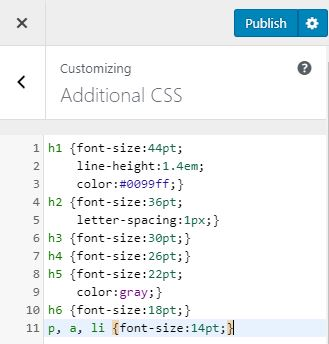 Additional CSS in WordPress Customize
