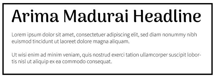 Arima Madurai Heading Source Sans Pro Copy Font-Example