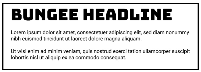Bungee Heading Roboto Copy Font Example