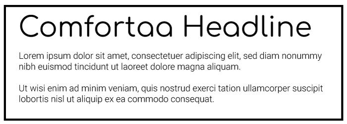 Comfortaa Heading Roboto Copy Font Example
