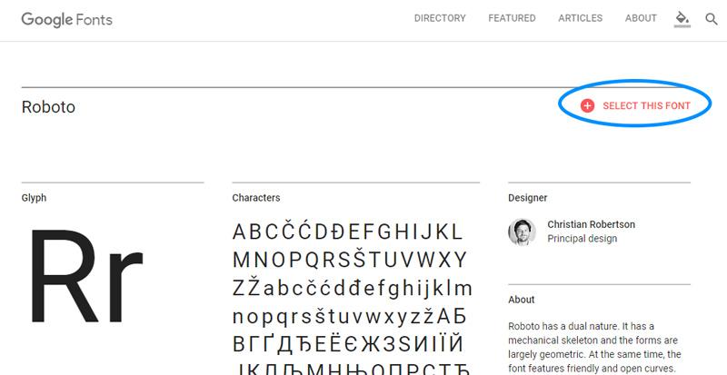 Google Fonts Select this Font