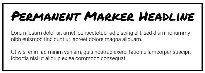 Permanent Marker Heading Roboto Light Copy Font Example