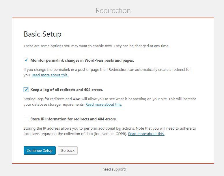 Redirection Setup Screenshot