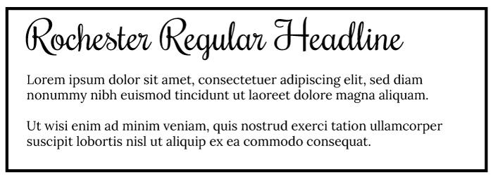 Rochester Regular Heading Lora Regular Copy Font Example