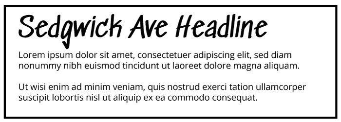 Sedgwick Ave Heading Open Sans Copy Font Example