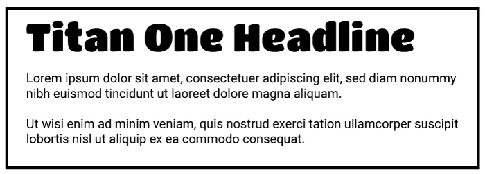 Titan One Heading Roboto Copy Font Example