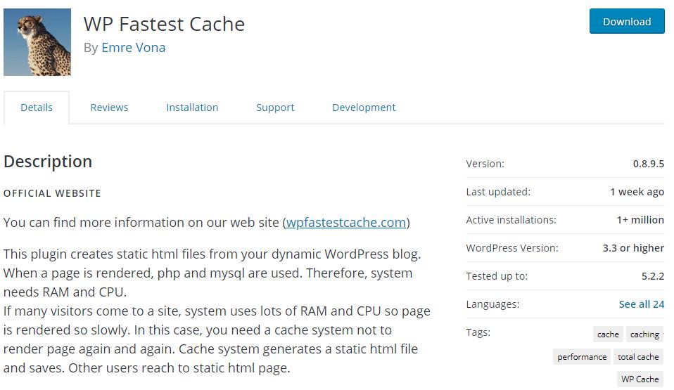WP Fastest Cache Plugin Screenshot
