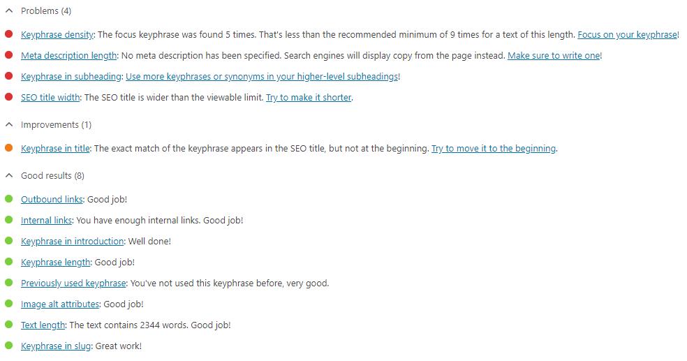 Yoast SEO Post Analysis Screenshot