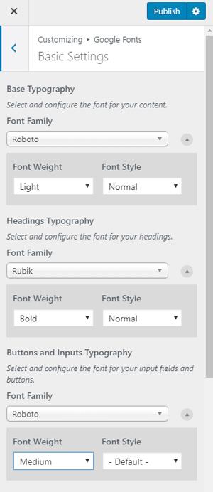 Font Family Plugin