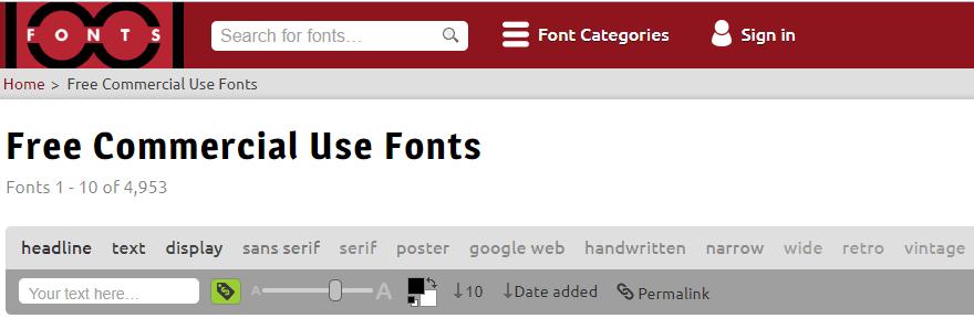 1001 Fonts Screenshot