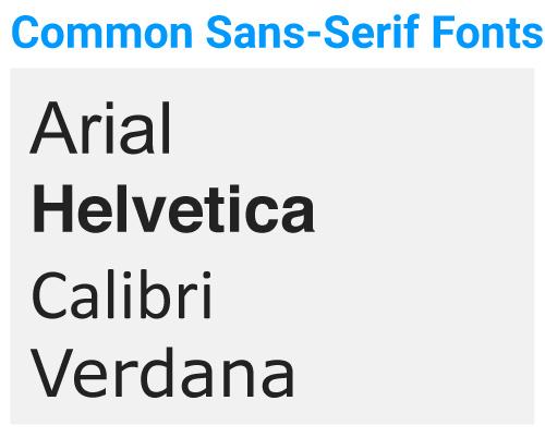 Common Sans-Serif Fonts