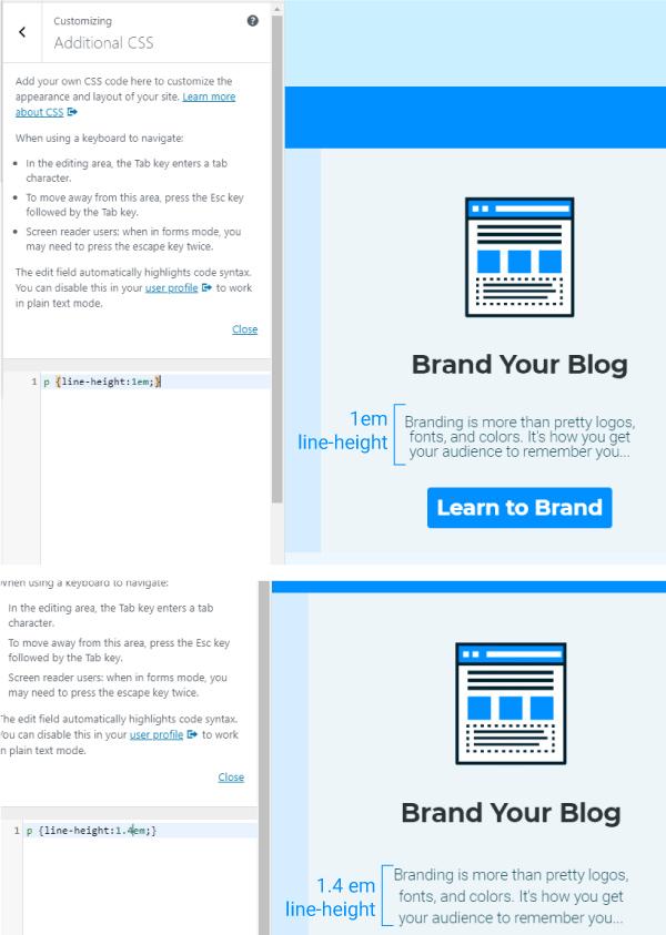 Wordpress Edit Line-Height Example