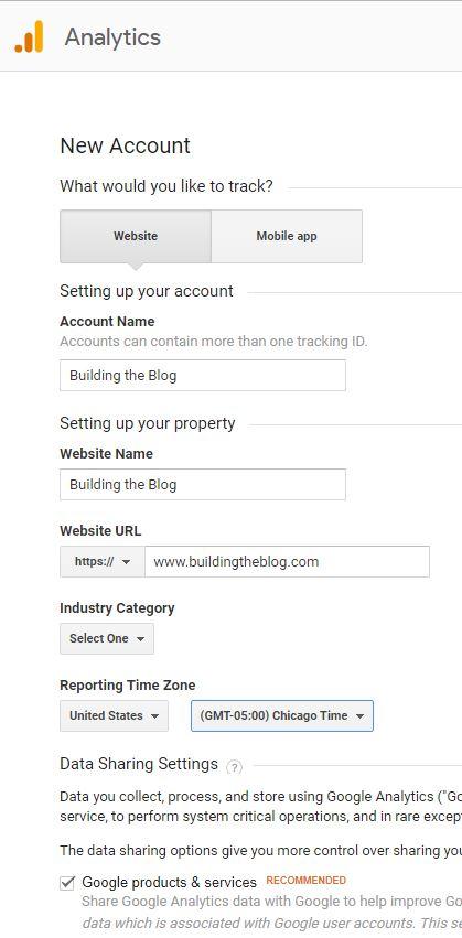 Google Analytics Setup New Account