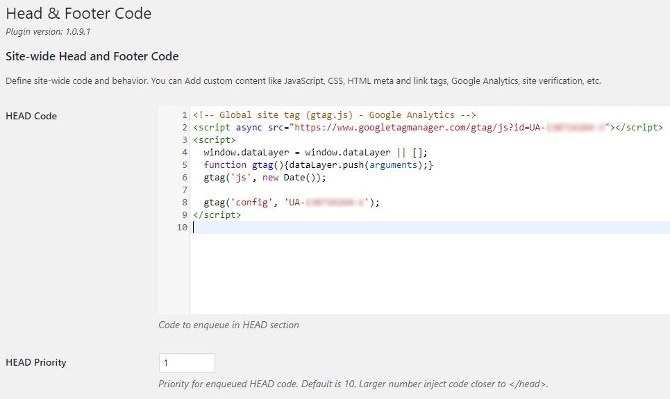 Header and Footer Code Screenshot Google Analytics