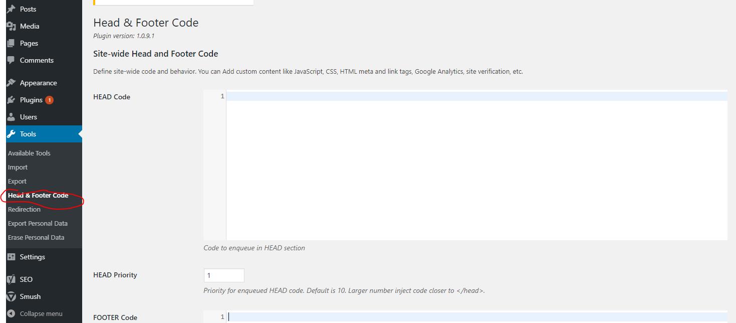 Header and Footer Code Screenshot