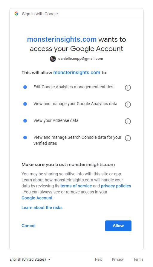 MonsterInsights Google Analytics Access