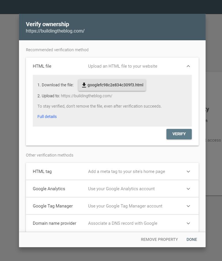 URL Prefix Verification Method Google Search Console