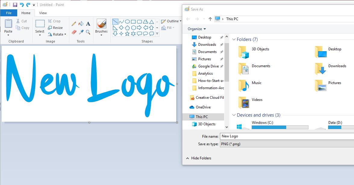 Microsoft Paint Logo Example