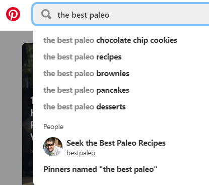 Pinterest Search Autocomplete Example