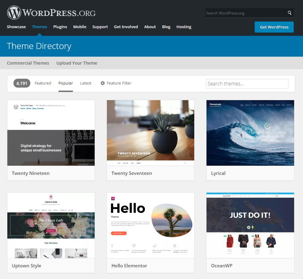 Wordpress Theme Directory Screenshot