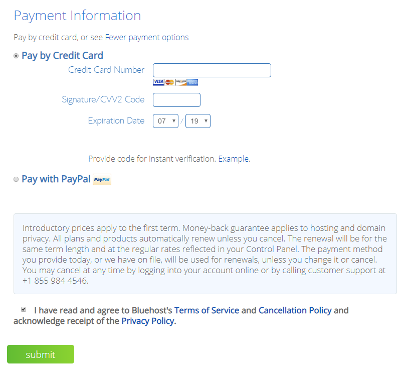 Finalize Bluehost Hosting Payment Information