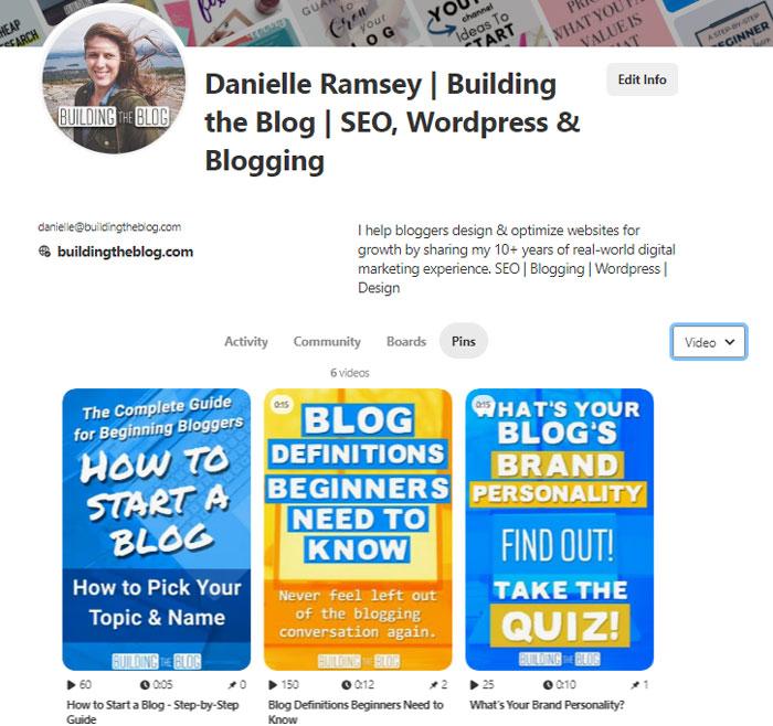 Building the Blog Pinterest Profile Video Pins