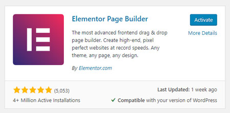 Activate Elementor Page Builder