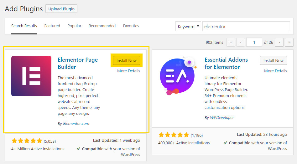 Elementor Page Builder Plugin Search Screen