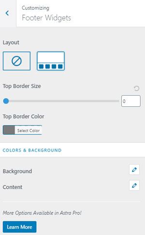 Footer Widgets Astra Customize Options