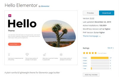 Free WordPress Theme Hello Elementor