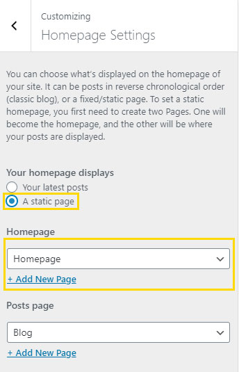 Homepage Settings for Custom Homepage in Astra Theme for WordPress