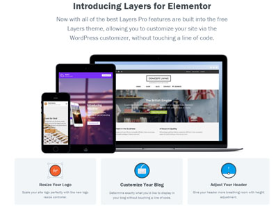 Free WordPress Theme Layers for Elementor