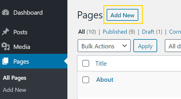 Add new page in WordPress screenshot