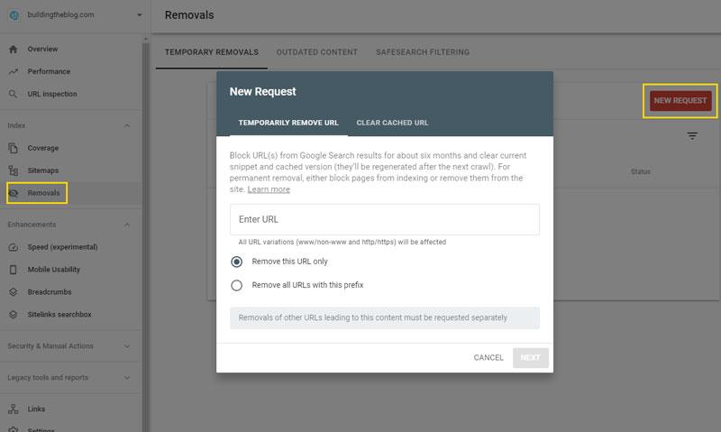 Removals Google Search Console